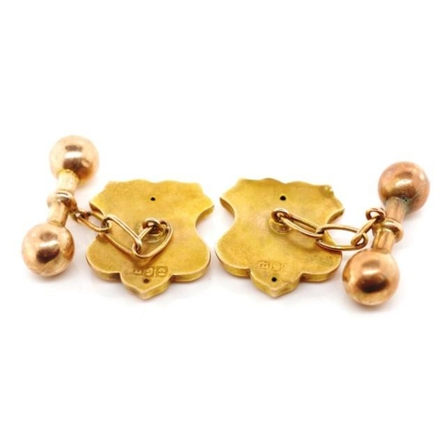 38 - Antique Australian 9ct rose gold cufflinks marked 9ct Sheaf crown (for Lamborn?). Approx weight 4.2 ...
