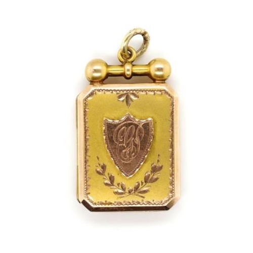 39 - Australian 9ct rose and yellow gold locket by Willis & Sons. Marked 9ct unicorn W. Approx weight 6.5...