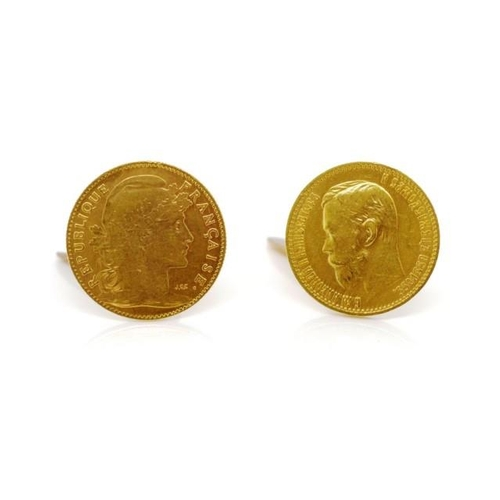 4 - French and Russian empire gold coin cufflinks includes a 1907 French Republique 10 franc coin approx...