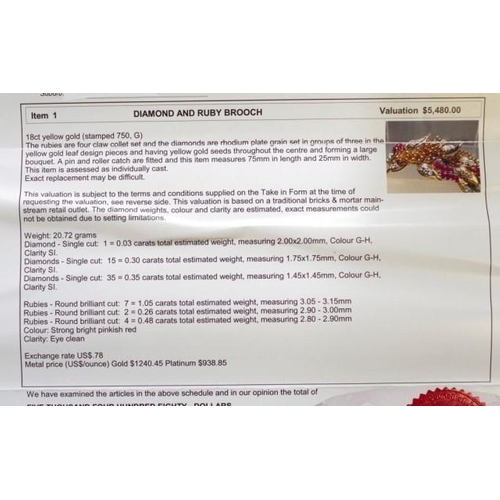 49 - Ruby & Diamond 18ct gold flower brooch wti GIA certificate. Summary estimates: single cut diamonds 1...