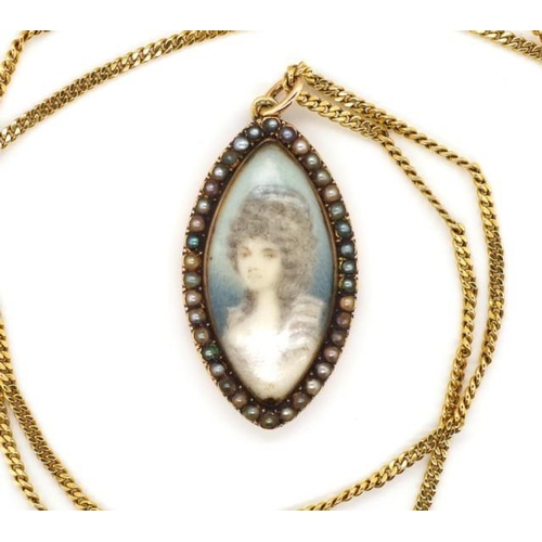 5 - Antique portrait miniature pendant on a gold chain the pendant is probably 18th C. with a seed pearl...