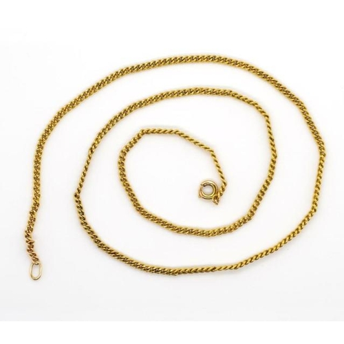 59 - 9ct gold curb link chain necklace rubbed marks. Approx 4 grams, length 40cm. Test as 9ct...