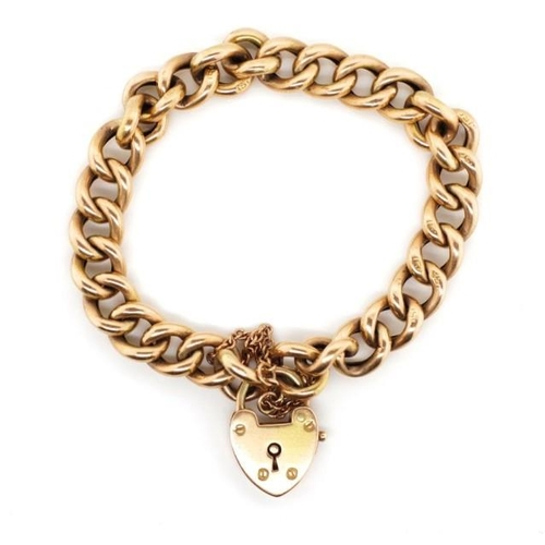 7 - Antique 15ct rose gold bracelet with heart padlock clasp, with unusual spring clasp.  Marked 15ct to...