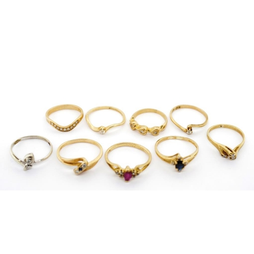 13 - Nine diamond and gemstone set 9ct gold rings also includes sapphire and ruby examples approx weight ...