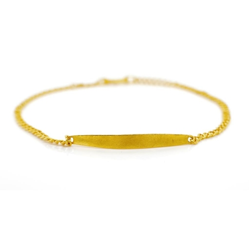 16 - Yellow gold ID bracelet with a plain plate for engraving. Unmarked with S clasp. Approx weight 4.45 ...