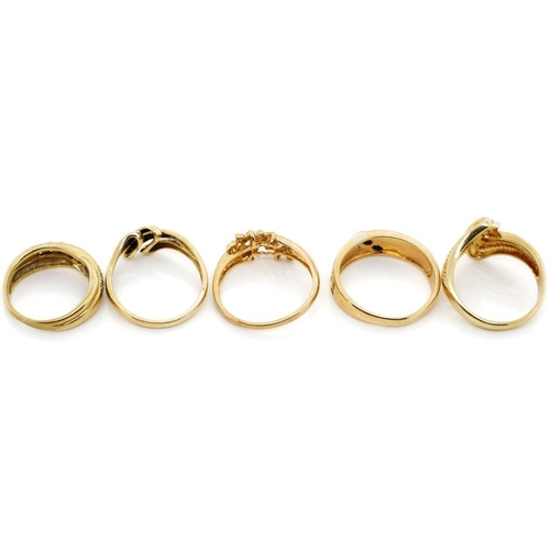 17 - Five pave set diamond and 9ct yellow gold rings approx 13 grams weight...