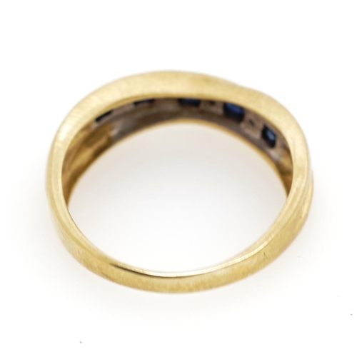 20 - Sapphire and diamond set 9ct yellow gold ring marked 375. Approx weight 2.8 grams, ring size N...