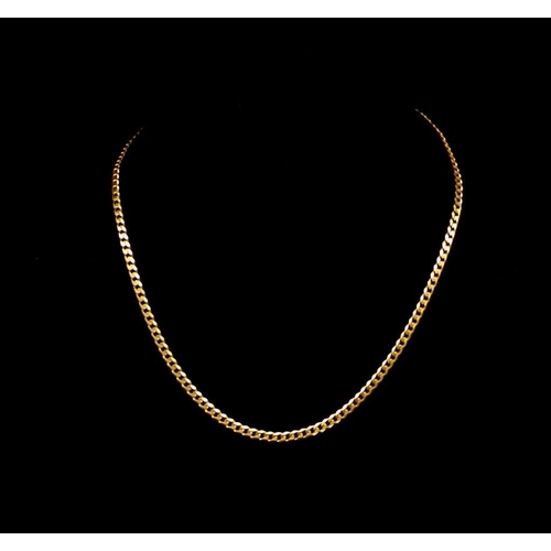 22 - 18ct yellow gold flat curb chain link necklace approx length 44cm, weight 13.49 grams...