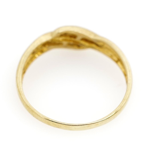 24 - Diamond set 9ct yellow gold ring marked 375. Approx weight 1.77 grams, ring size Q-R...
