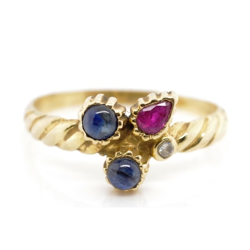 28 - Sapphire, ruby and diamond set gold ring , with tapered roped twist yellow gold shank and bezel gems...