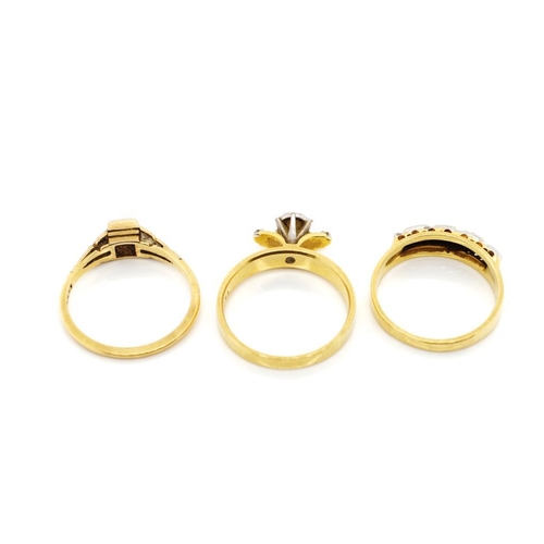 31 - Three diamond set 18ct yellow gold rings mixed 18ct and Plat marks. Approx weight 8.96 grams, ring s...