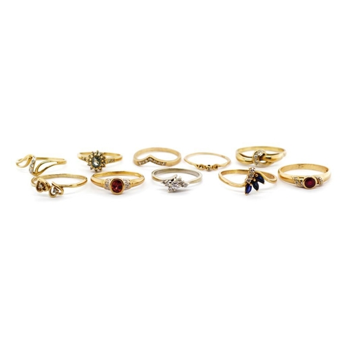 33 - Ten diamond and gem stone set 9ct gold rings includes, sapphire, ruby, topaz and garnet set examples...