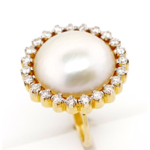 35 - Mabe pearl and diamond set 18ct yellow gold ring with a singularly joined tapered c shape shank. Unm...