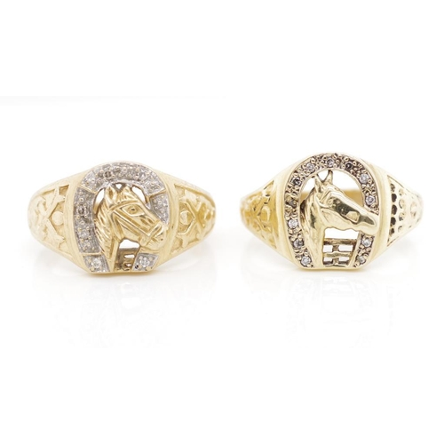 37 - Two diamond set 9ct yellow gold horse rings approx weight 11.61 grams, ring sizes T & W. One A/F sto...
