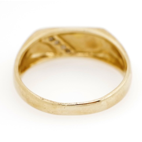 38 - Diamond and 9ct yellow gold signet ring marked 375. Approx weight 4.3 grams, ring size V...