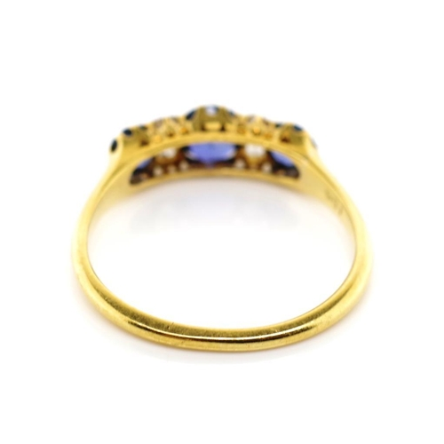 39 - A good antique diamond and sapphire, gold ring approx 3x round cut mid blue natural sapphires 1 =0.4...