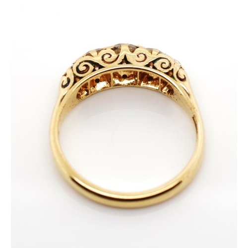 4 - Antique Australian diamond and yellow gold ring with five claw set old cut diamonds, a pierced work ...