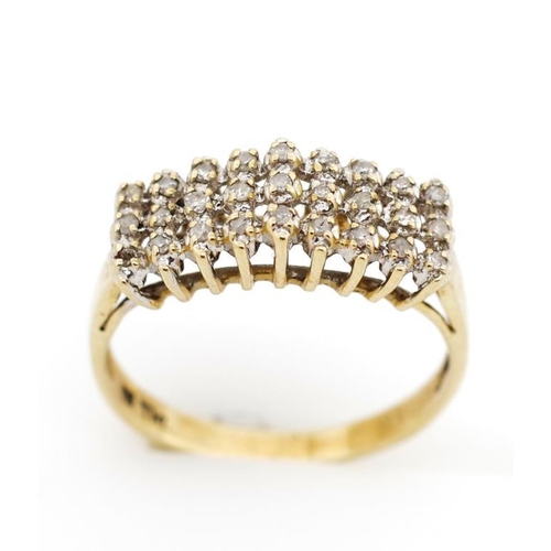 40 - Diamond set 9ct yellow gold ring marked 9k. Approx weight 1.9 grams, ring size M...