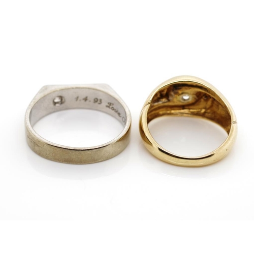 42 - Two diamond set 9ct gold rings includes a white and yellow gold examples. Approx total weight 8.93 g...