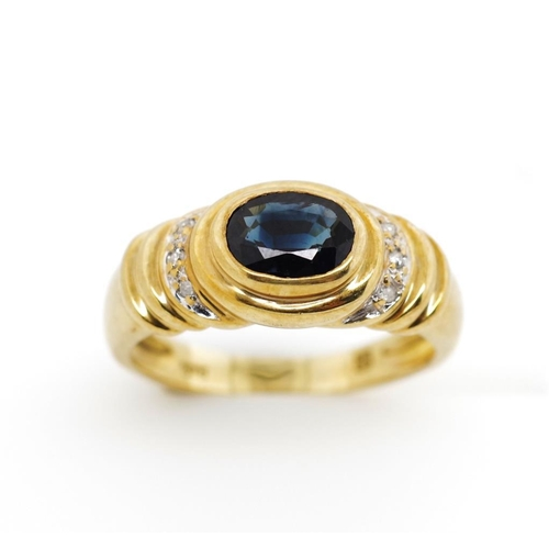 44 - Sapphire and diamond set 9ct yellow gold ring marked 375. Approx weight 3.36 grams, ring size N...