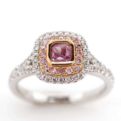 58 - Pink diamond (0.36ct) & 18ct white gold halo ring with an approx 0.36ct radiant cut diamond center s...