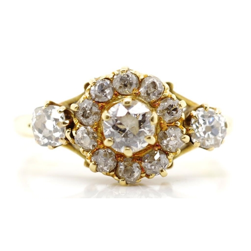 59 - Antique old cut diamond and 18ct yellow gold ring unmarked. Approx weight 4.1 grams, ring size Q...