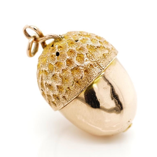 6 - Victorian 9ct rose gold pomander pendant of acorn form ,with a high polish bottom and textured top. ...
