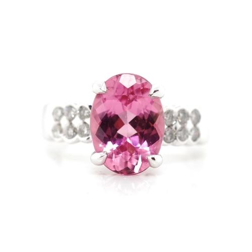 60 - 2.80ct Pink tourmaline, diamond and platinum ring marked 900.Set with a single oval cut tourmaline a...