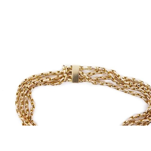 10 - Antique 9ct rose gold four strand bracelet with oval belcher type links and heart padlock clasp. Bot...
