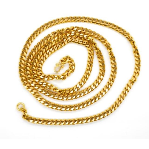14 - Oriental rose gold curb link chain marked Oriental marks to s clasp. Approx link size 4mm, length 72...