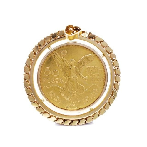21 - Mexican 50 Pesos gold coin pendant in a 18ct yellow gold Aleppo chain setting. The coin is stamped 1...