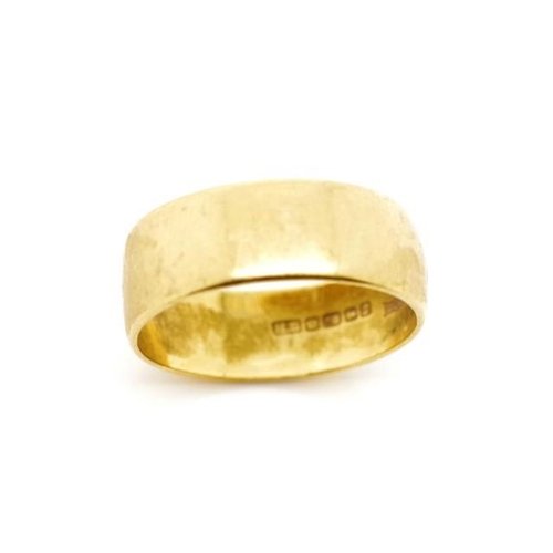 28 - 18ct yellow gold wedding band marked HS Birmingham 1967 Lucky. Approx weight 5 grams, ring size Q-R...