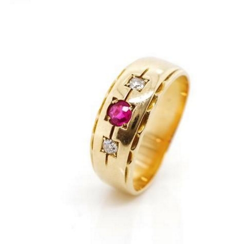 30 - Diamond and ruby set yellow gold ring Unmarked. With feather edge banding Approx 1x round cut ruby 3...
