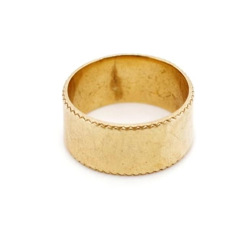 35 - 9ct rose gold ring a flat band with feather edge type borders. Marked 9ct My Valentine. Approx weigh...