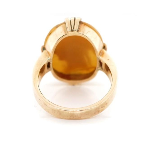 37 - Australian 9ct rose gold and carved cameo ring marked NSW Kookaburra hallmark LM. Approx cameo size ...
