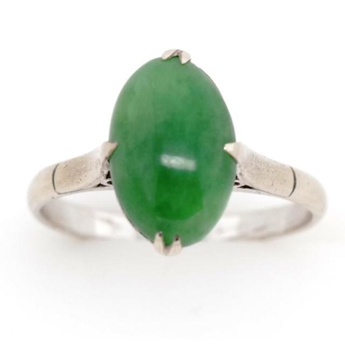 38 - Vintage jade and 18ct white gold ring marked 18k. Approx jade cabochon size 11mm x 8mm x 4.7mm depth...