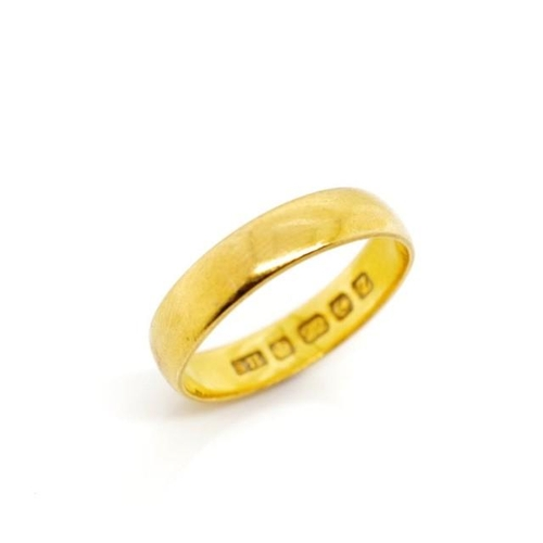 42 - George V 22ct yellow gold ring marked 22ct Birmingham 1924 SA. Approx weight 3.6 grams, ring size M...