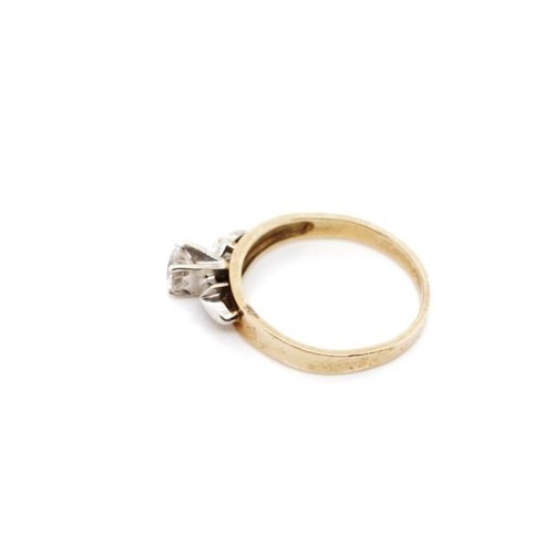 43 - Cubic zirconia and 9ct yellow gold ring marked 9ct. Approx weight 2.8 grams, ring size O...
