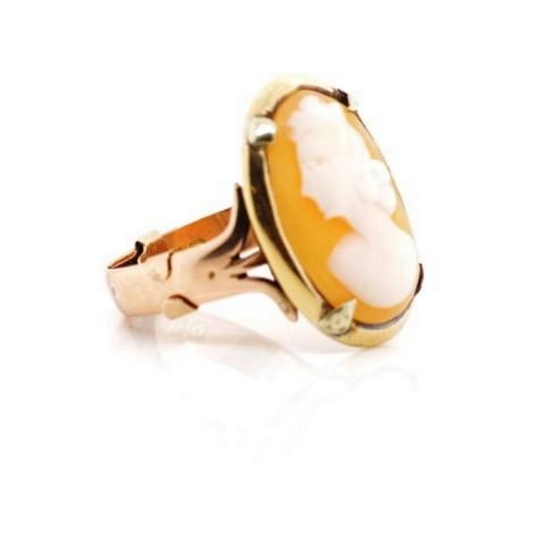 44 - George VI 9ct rose gold and carved cameo ring marked Birmingham 1938, H.A. Approx weight 5.2 grams, ...