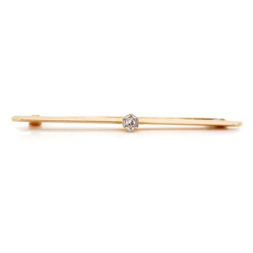 45 - Antique 15ct rose gold and diamond bar brooch with a platinum mille grain setting. Marked 15ct AS. A...