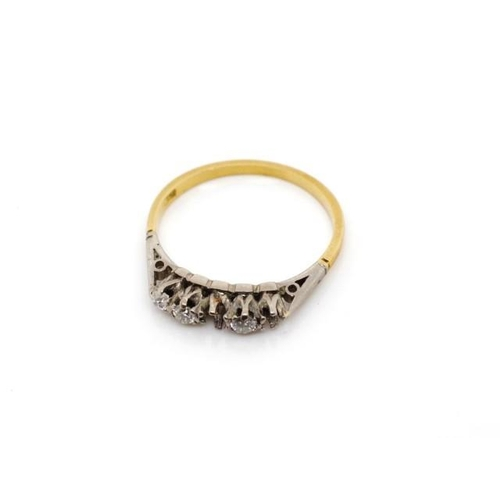 47 - 18ct two tone gold ring for restoration with a five stone diamond setting, missing two diamonds and ...