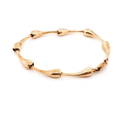 5 - Modernist 9ct rose gold bracelet Marked 9ct to link and 375 to clasp. Approx inside width 58mm, weig...