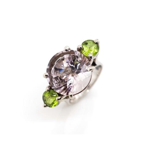 50 - Amethyst and peridot set 9ct white gold ring in the cocktail ring style with raised four claw settin...