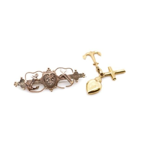 51 - Victorian 9ct rose brooch and a gold charm both representing Hope Faith & Charity, the charm is mark...