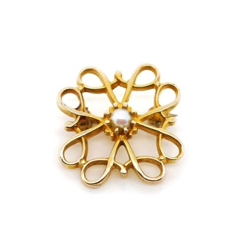 52 - Australian 9ct yellow gold brooch fret work design set with a seed pearl. Marked A&C 9ct. Approx wei...