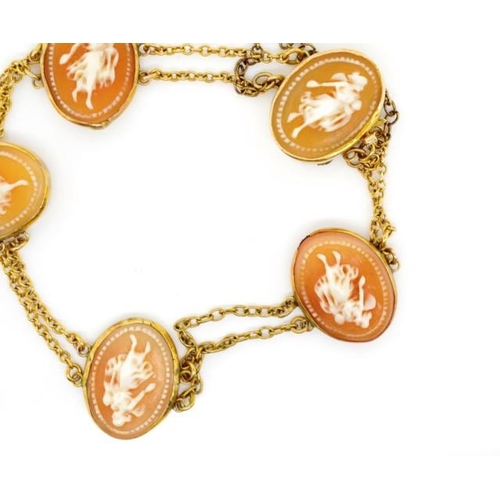 8 - Antique carved cameo and yellow gold bracelet with five carved shells depicting classical ladies, in...