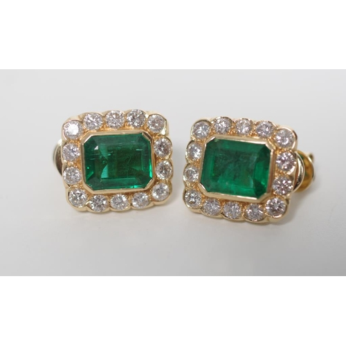 17 - Emerald and diamond set 18ct yellow gold earrings with folding post, clips and butterfly backs. Appr...