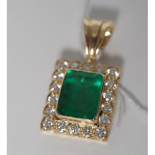 18 - Emerald and diamond set 18ct yellow gold pendant approx 1x emerald cut natural emerald strong green ...