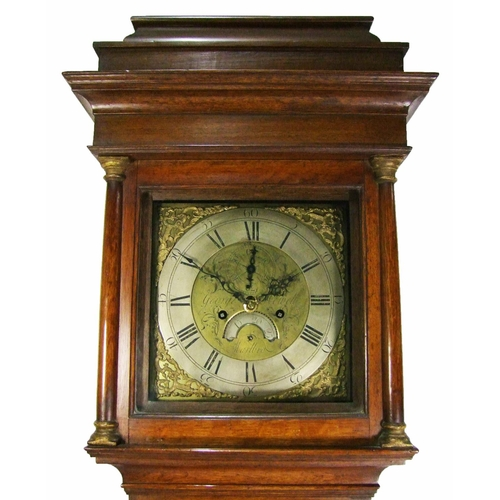 131 - An oak 8-day longcase clock, the 28cm brass dial signed George Hewett, Marlborough, with silvered ch...