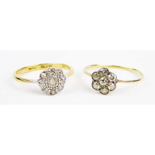 17 - A diamond-set cluster ring, set with old brilliant-cut diamonds; together with an old-cut diamond-se...